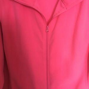 Hot pink, zip up fleece jacket